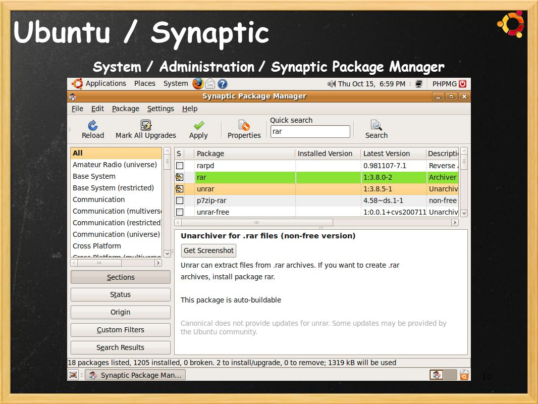 System / Administration / Synaptic Package Manager