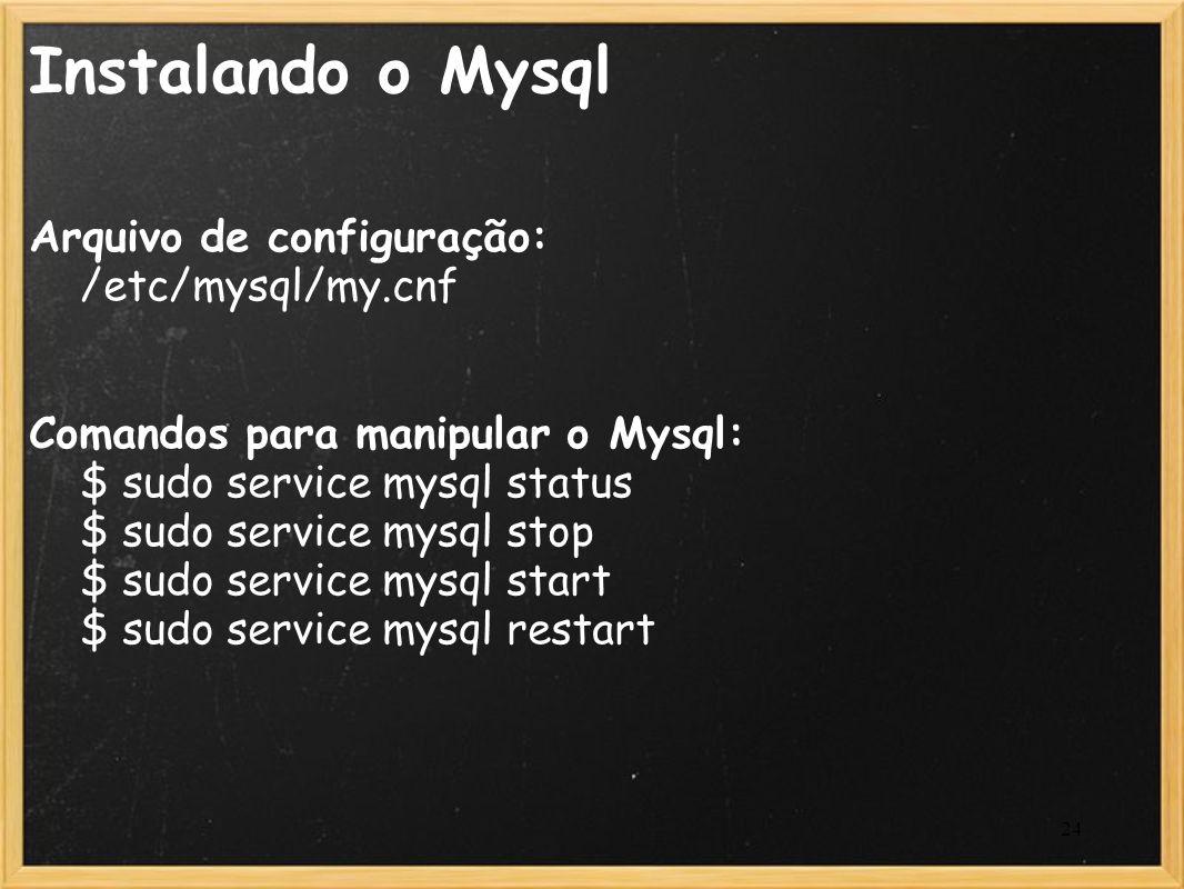 Instalando o Mysql Arquivo de configuração: /etc/mysql/my.cnf