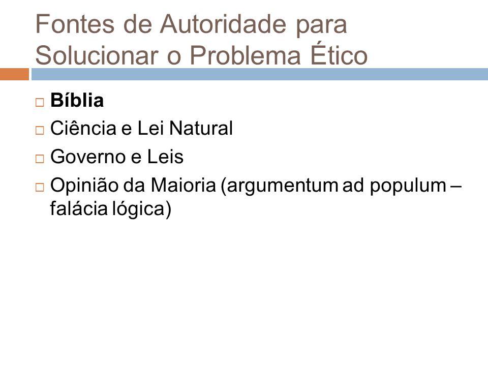 Fontes de Autoridade para Solucionar o Problema Ético