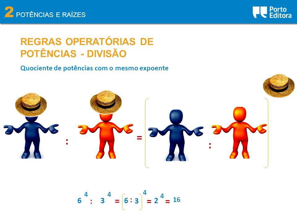 2 = : : REGRAS OPERATÓRIAS DE POTÊNCIAS - DIVISÃO = = = 6 3 : 6 : 3 2