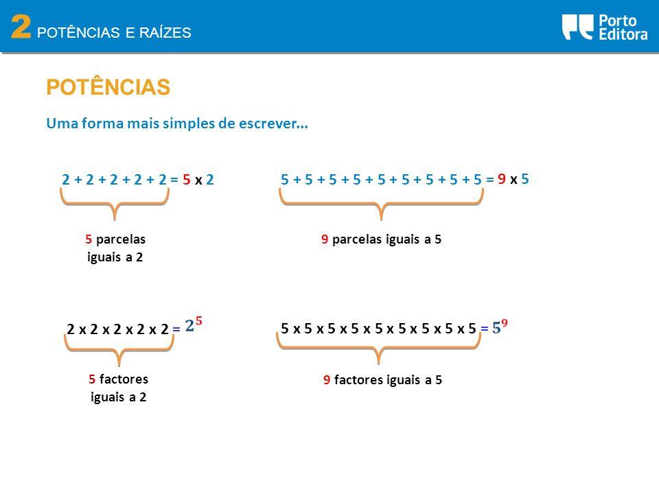 2 POTÊNCIAS Uma forma mais simples de escrever... 2 + 2 + 2 + 2 + 2 =