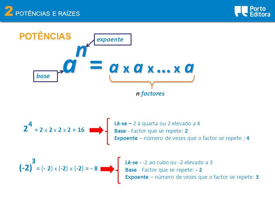 a = a x a x ... x a n 2 POTÊNCIAS 2 (-2) 4 3 expoente base n factores
