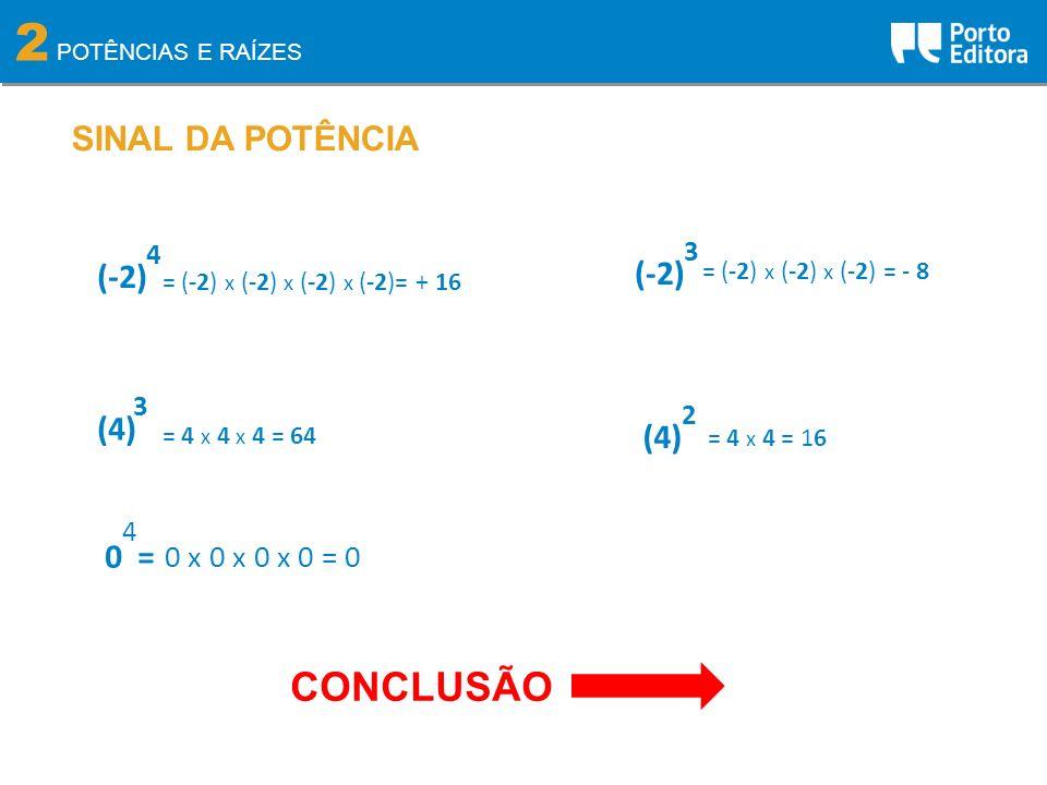 2 CONCLUSÃO SINAL DA POTÊNCIA (-2) (-2) (4) (4) 0 = 0 x 0 x 0 x 0 = 0