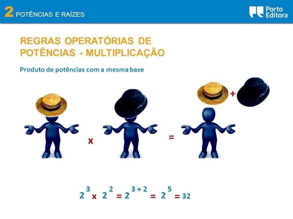 2 + = x = = = REGRAS OPERATÓRIAS DE POTÊNCIAS - MULTIPLICAÇÃO 2 x 2 2