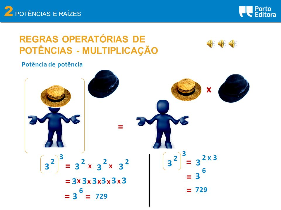 2 x = = = = = = = = REGRAS OPERATÓRIAS DE POTÊNCIAS - MULTIPLICAÇÃO 3