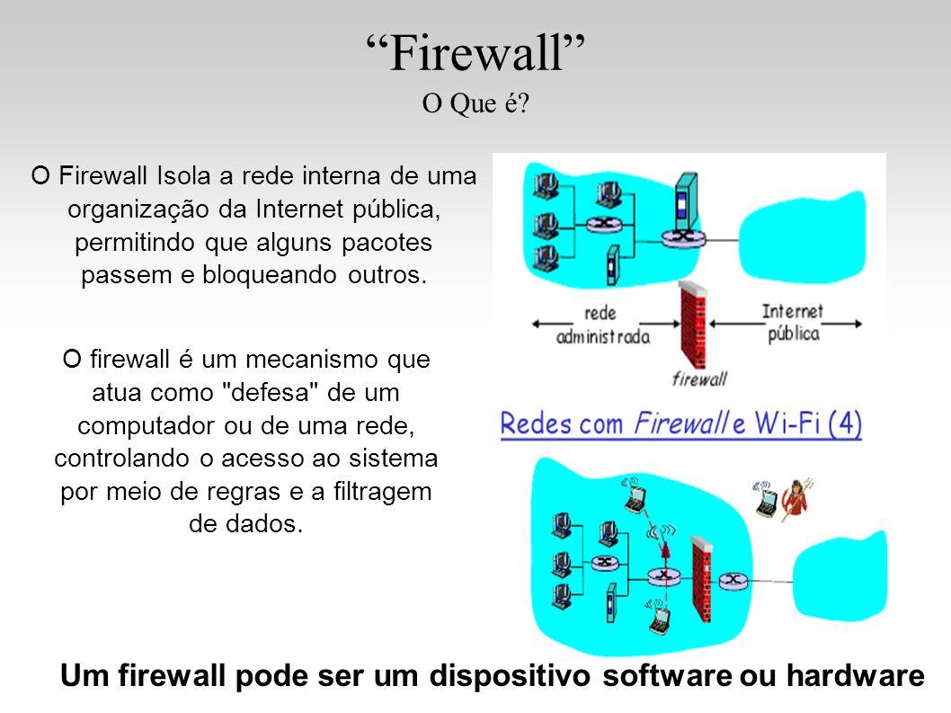Um firewall pode ser um dispositivo software ou hardware