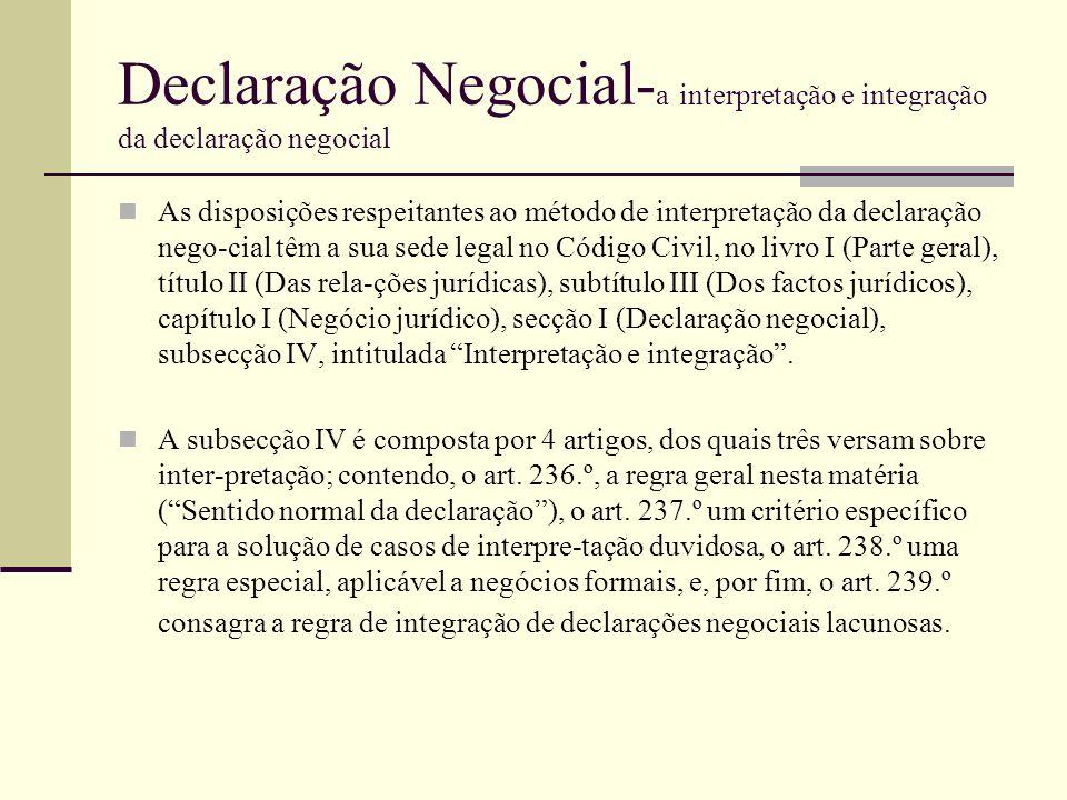 Declaração Negocial-a interpretação e integração da declaração negocial