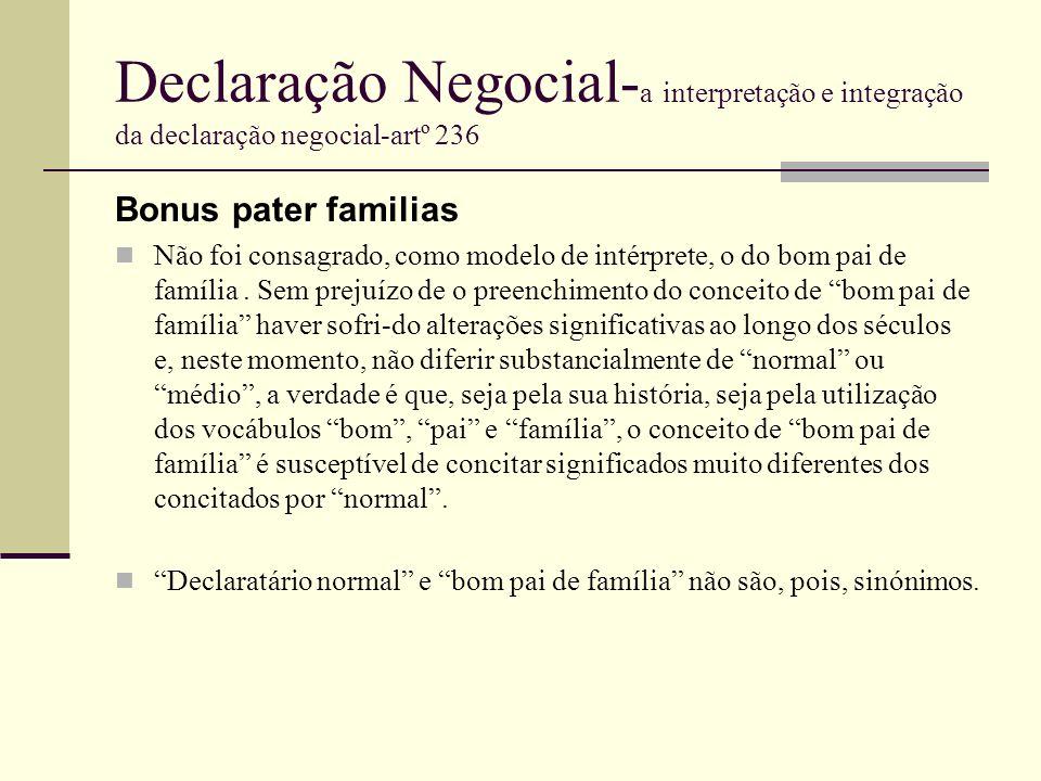 Declaração Negocial-a interpretação e integração da declaração negocial-artº 236