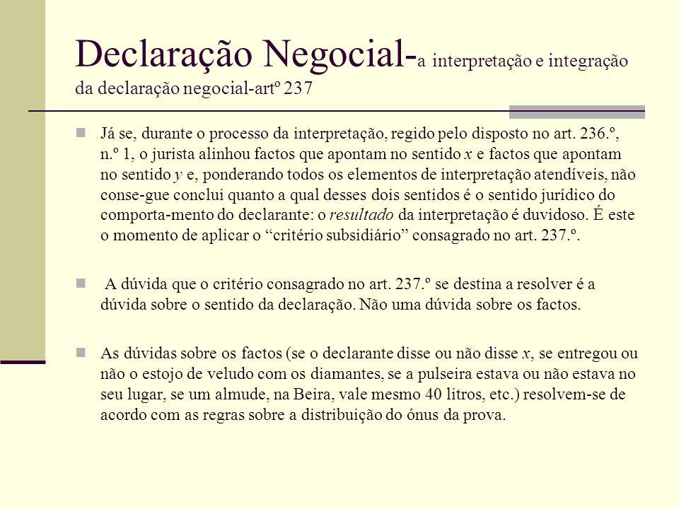 Declaração Negocial-a interpretação e integração da declaração negocial-artº 237
