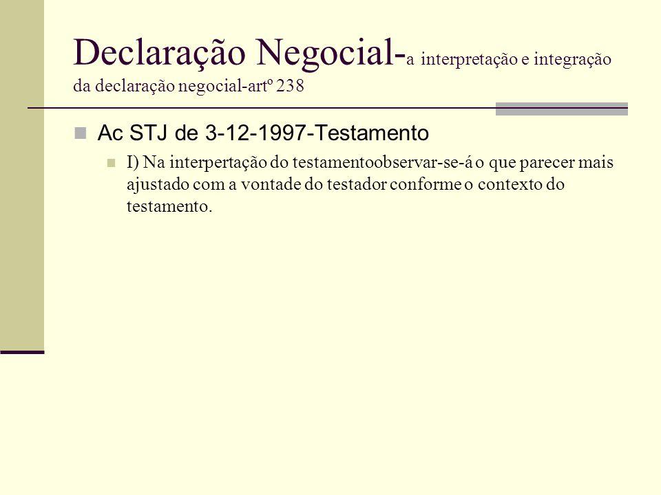 Declaração Negocial-a interpretação e integração da declaração negocial-artº 238
