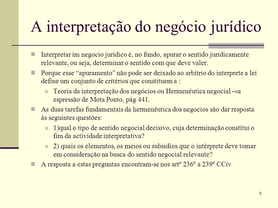A interpretação do negócio jurídico