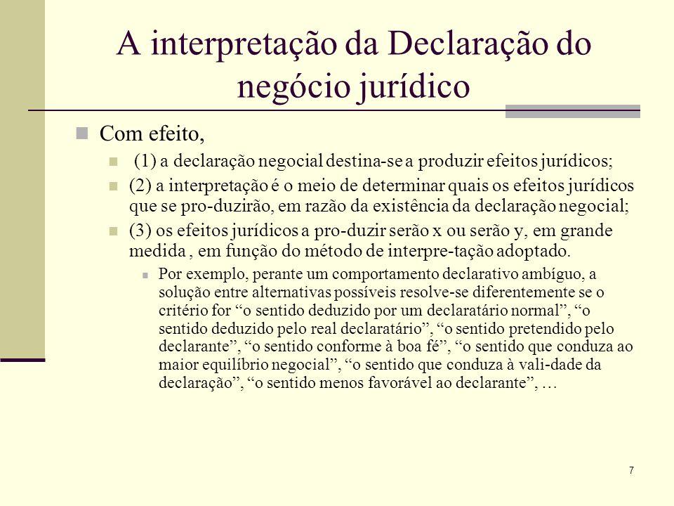 A interpretação da Declaração do negócio jurídico