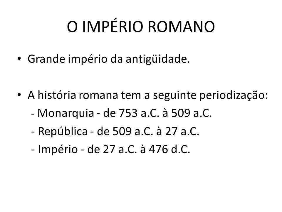 O IMPÉRIO ROMANO Grande império da antigüidade.