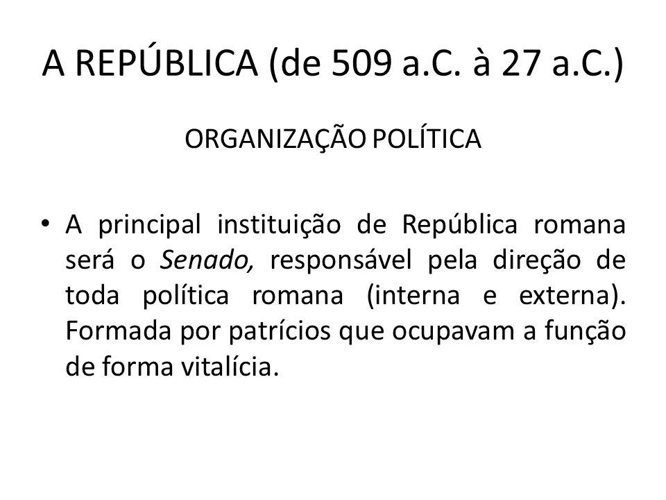 A REPÚBLICA (de 509 a.C. à 27 a.C.) ORGANIZAÇÃO POLÍTICA