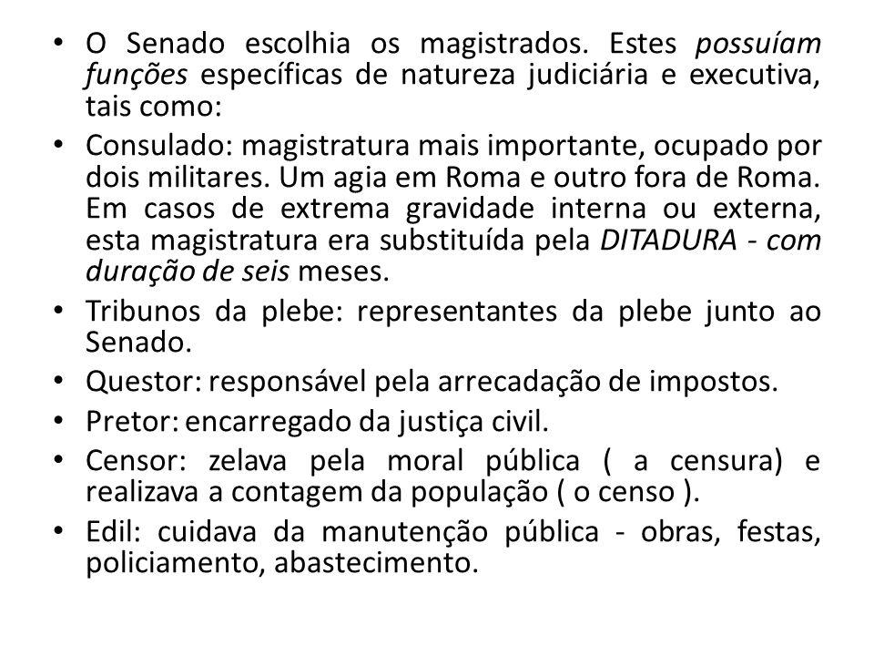 O Senado escolhia os magistrados