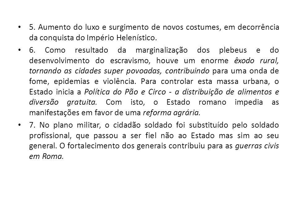 5. Aumento do luxo e surgimento de novos costumes, em decorrência da conquista do Império Helenístico.