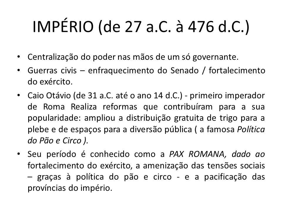 IMPÉRIO (de 27 a.C. à 476 d.C.) Centralização do poder nas mãos de um só governante.