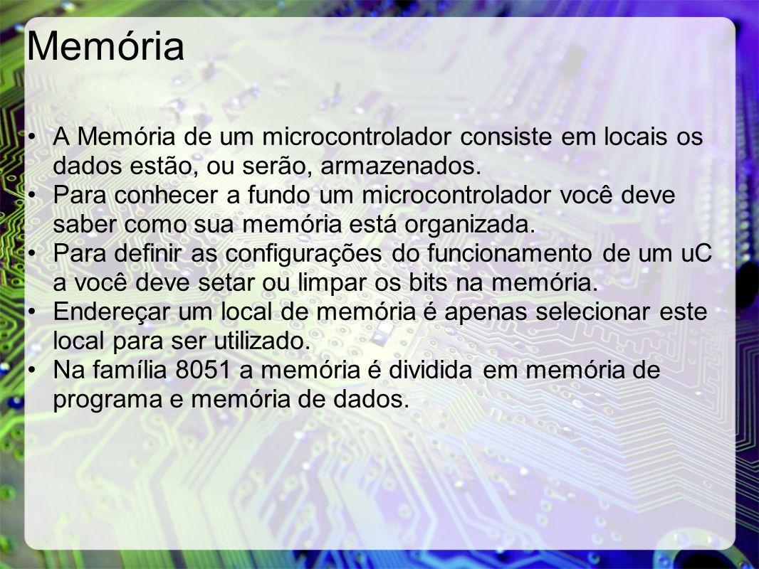 Memória A Memória de um microcontrolador consiste em locais os dados estão, ou serão, armazenados.