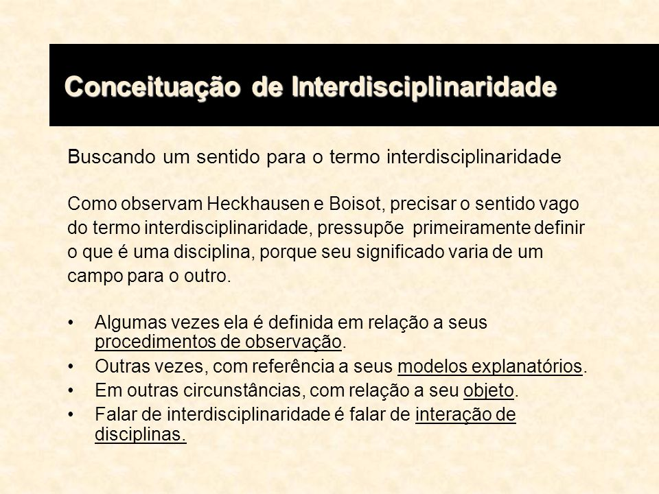 Conceituação de Interdisciplinaridade