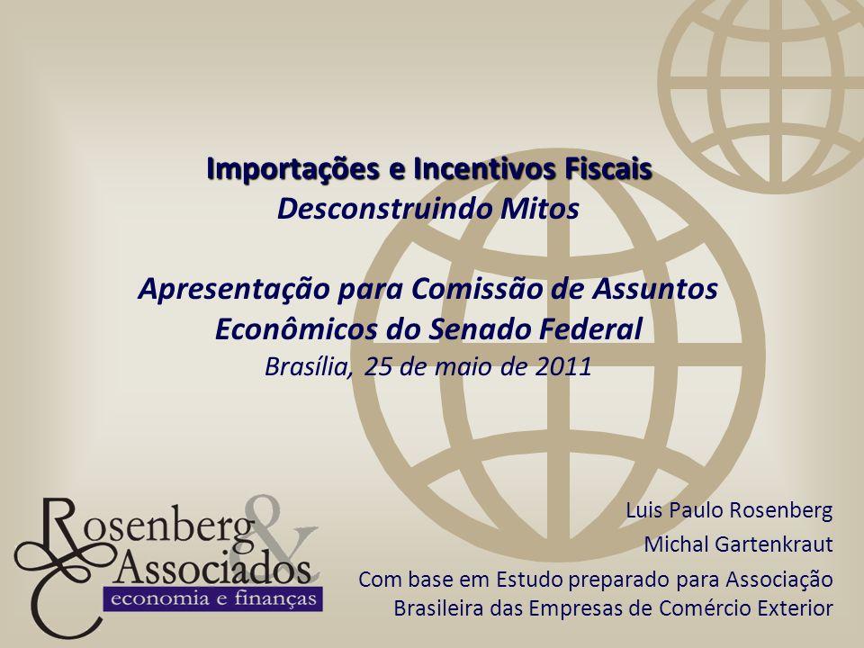 Importações e Incentivos Fiscais Desconstruindo Mitos Apresentação para Comissão de Assuntos Econômicos do Senado Federal Brasília, 25 de maio de 2011