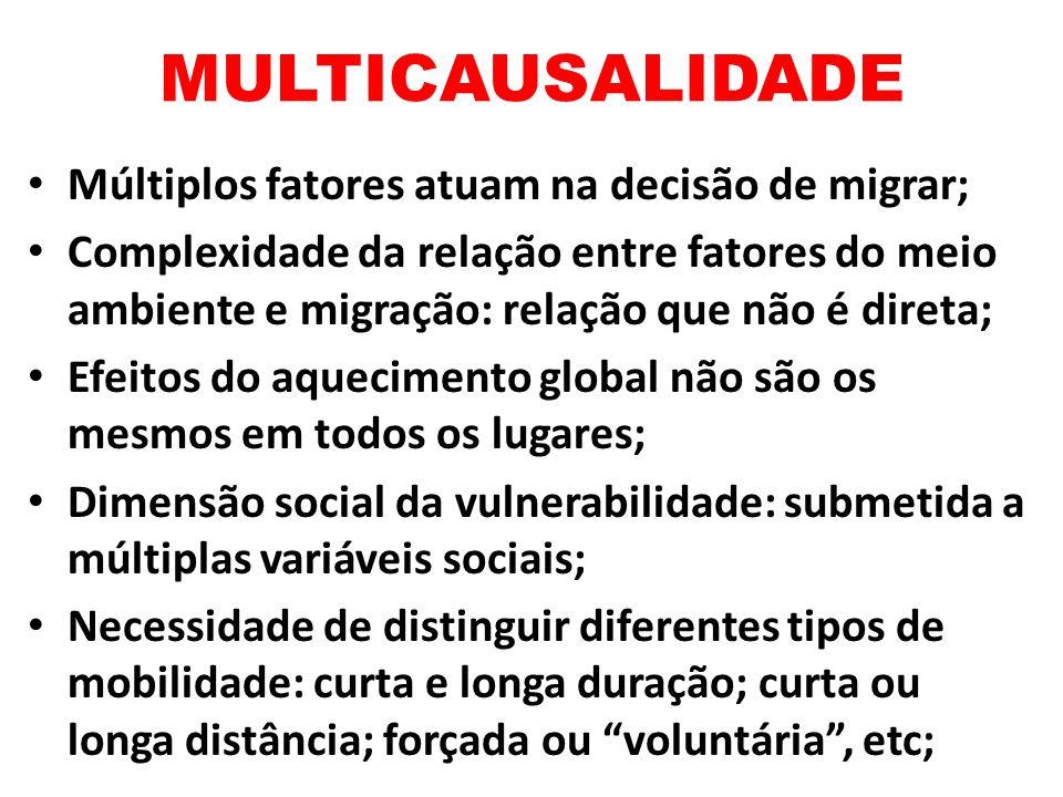 MULTICAUSALIDADE Múltiplos fatores atuam na decisão de migrar;