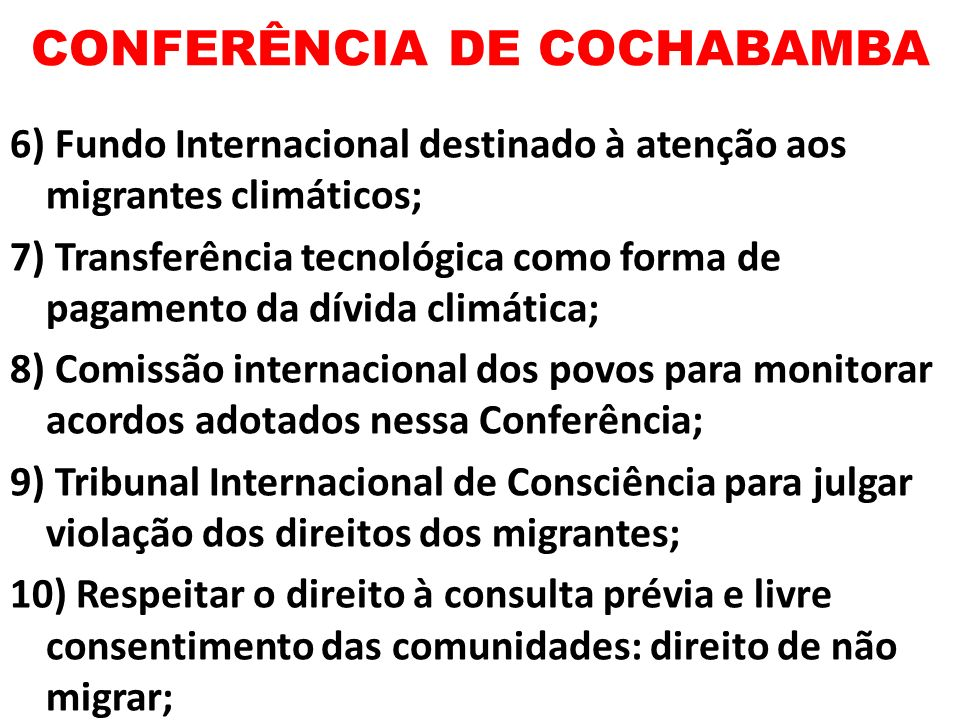 CONFERÊNCIA DE COCHABAMBA