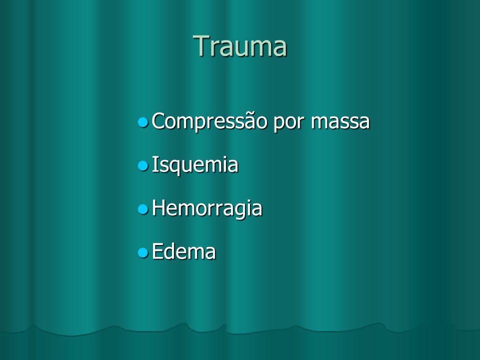 Trauma Compressão por massa Isquemia Hemorragia Edema