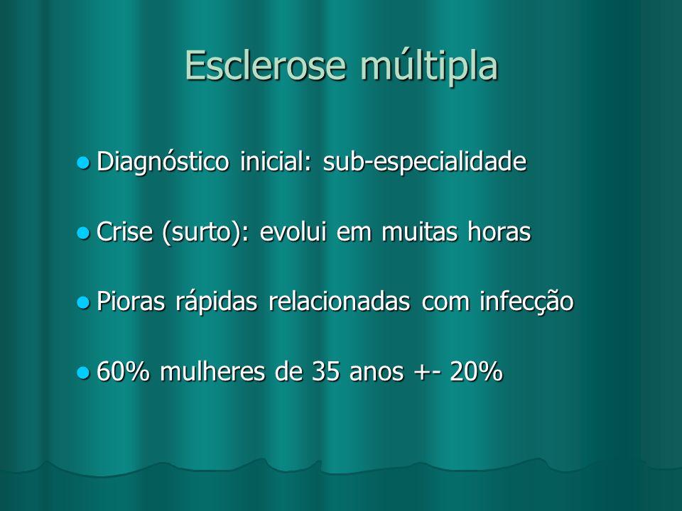 Esclerose múltipla Diagnóstico inicial: sub-especialidade