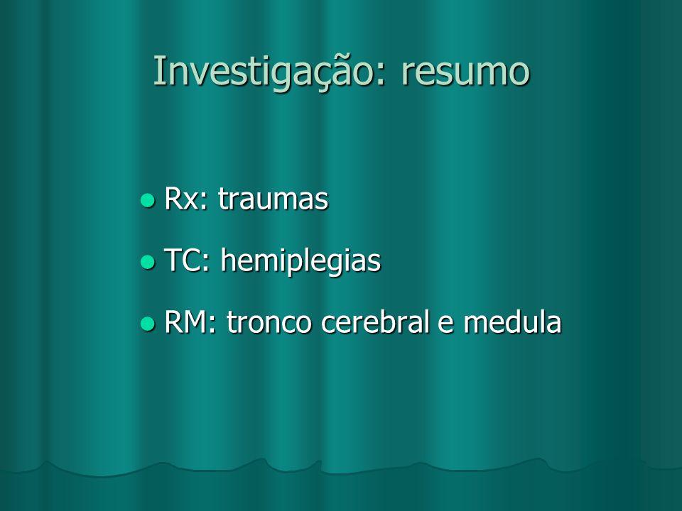 Investigação: resumo Rx: traumas TC: hemiplegias