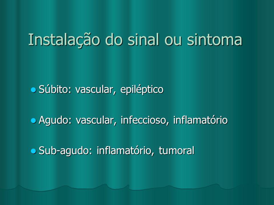 Instalação do sinal ou sintoma