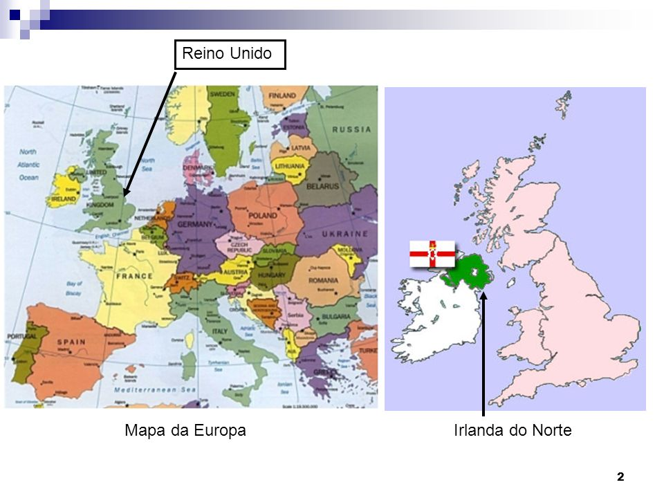 Reino Unido Mapa da Europa Irlanda do Norte