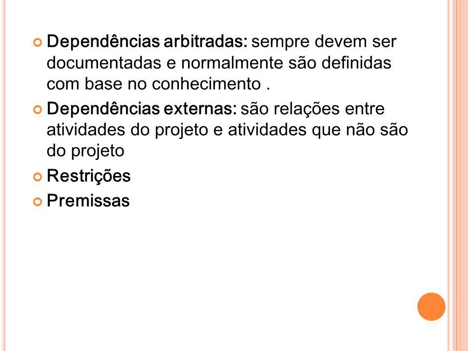 Dependências arbitradas: sempre devem ser documentadas e normalmente são definidas com base no conhecimento .