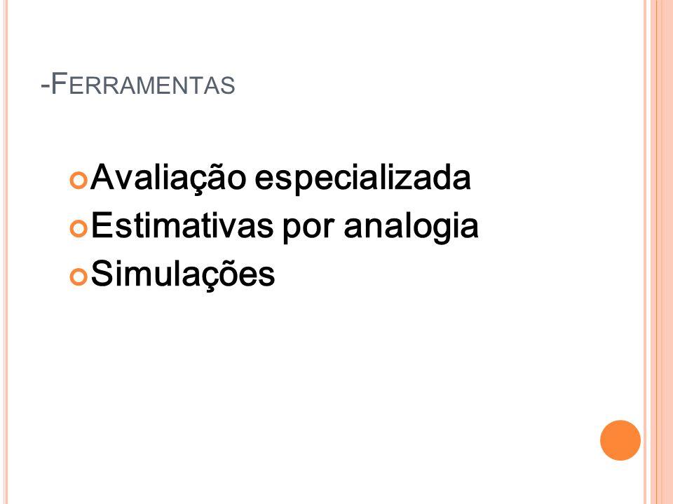 Avaliação especializada Estimativas por analogia Simulações