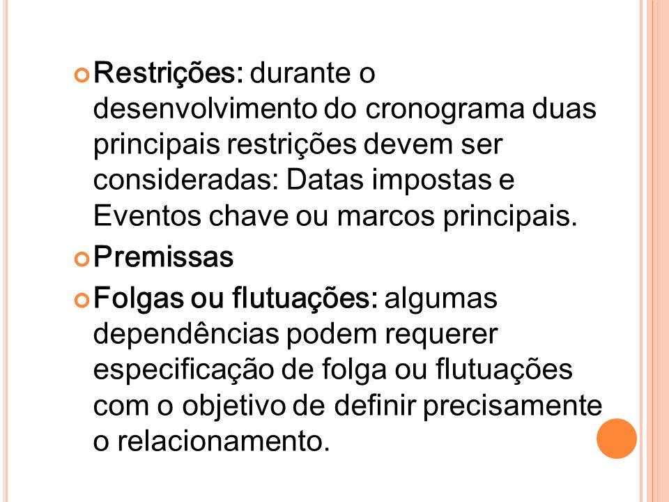 Restrições: durante o desenvolvimento do cronograma duas principais restrições devem ser consideradas: Datas impostas e Eventos chave ou marcos principais.