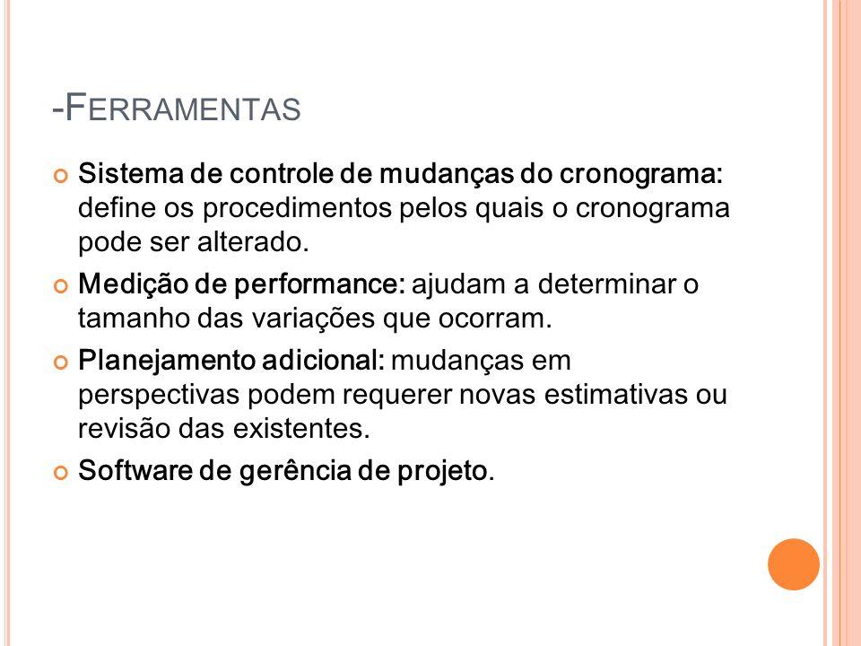 -FerramentasSistema de controle de mudanças do cronograma: define os procedimentos pelos quais o cronograma pode ser alterado.