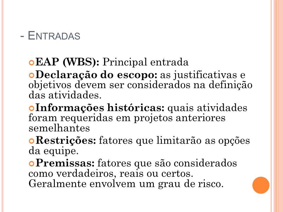 - Entradas EAP (WBS): Principal entrada