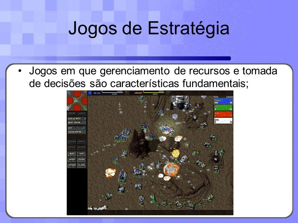 Jogos de EstratégiaJogos em que gerenciamento de recursos e tomada de decisões são características fundamentais;