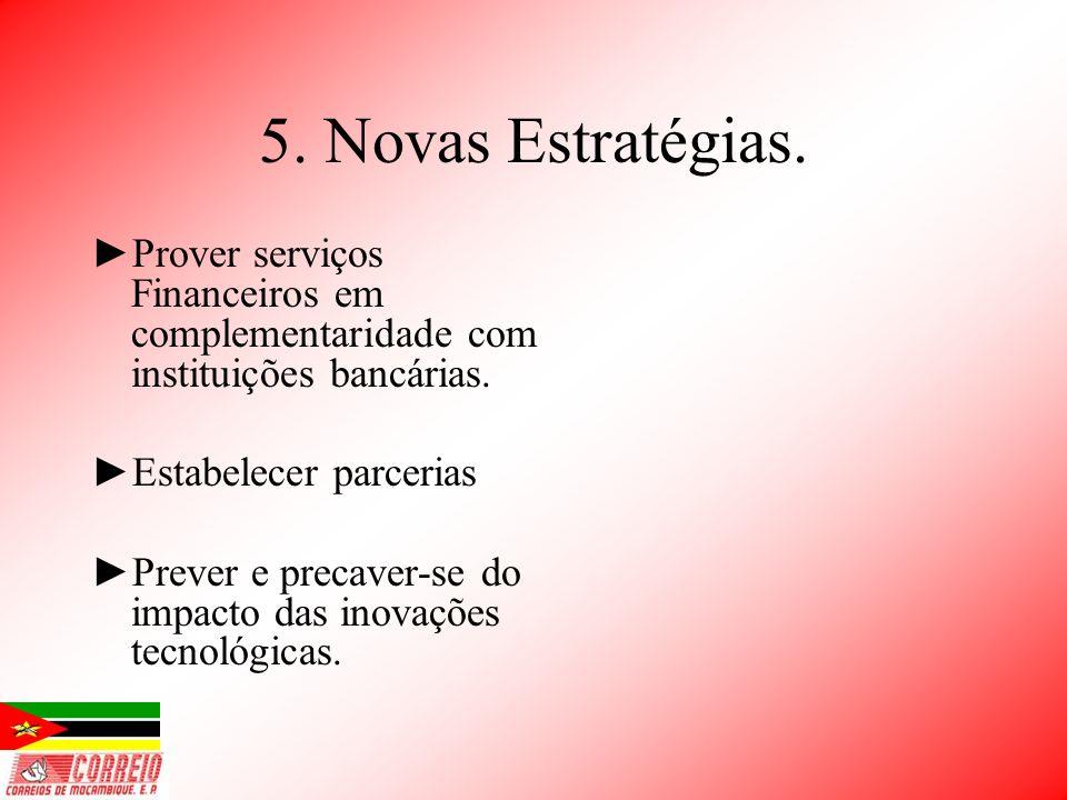 5. Novas Estratégias. Prover serviços Financeiros em complementaridade com instituições bancárias. Estabelecer parcerias.