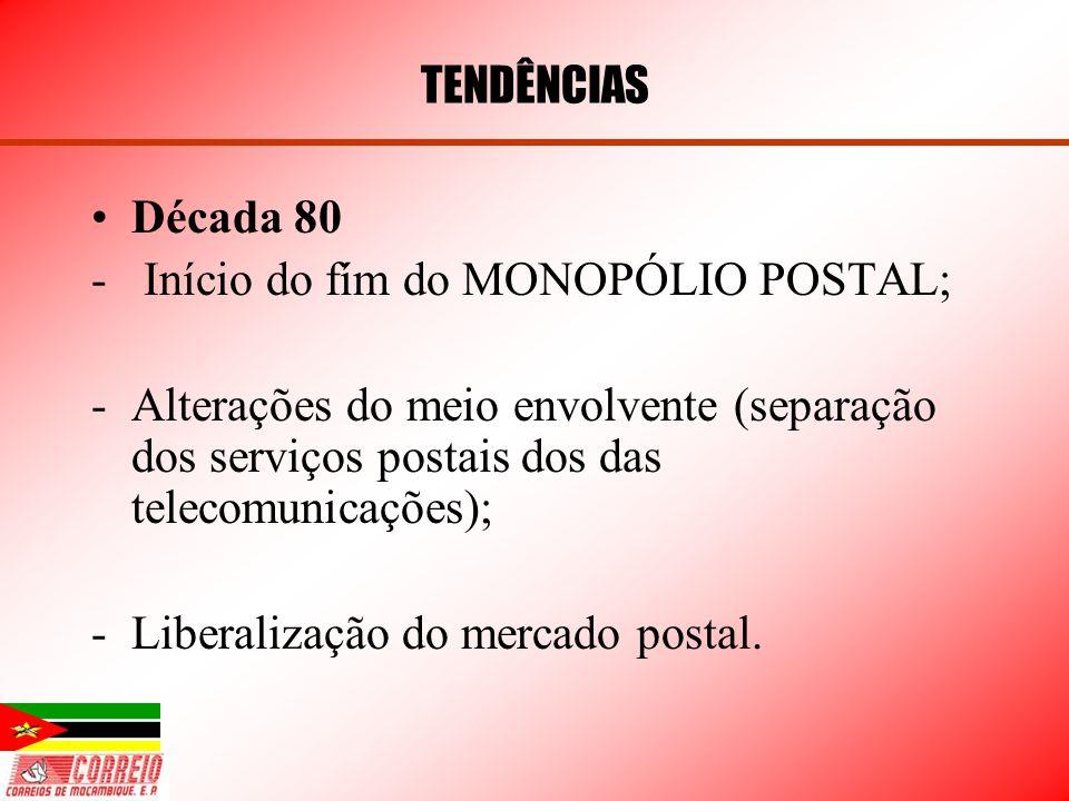 TENDÊNCIAS Década 80. Início do fím do MONOPÓLIO POSTAL; Alterações do meio envolvente (separação dos serviços postais dos das telecomunicações);