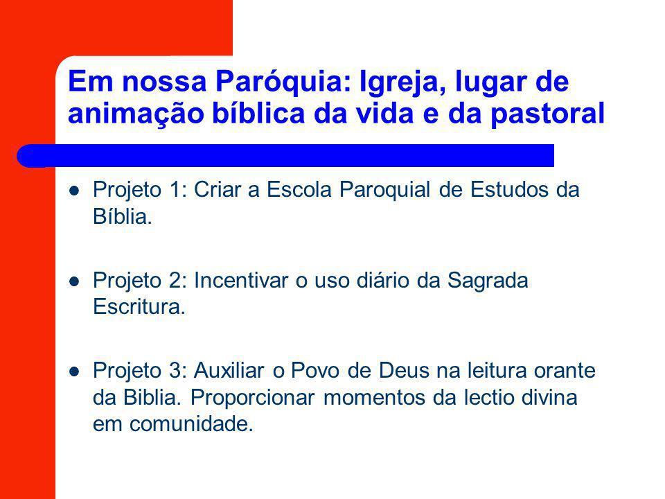 Em nossa Paróquia: Igreja, lugar de animação bíblica da vida e da pastoral