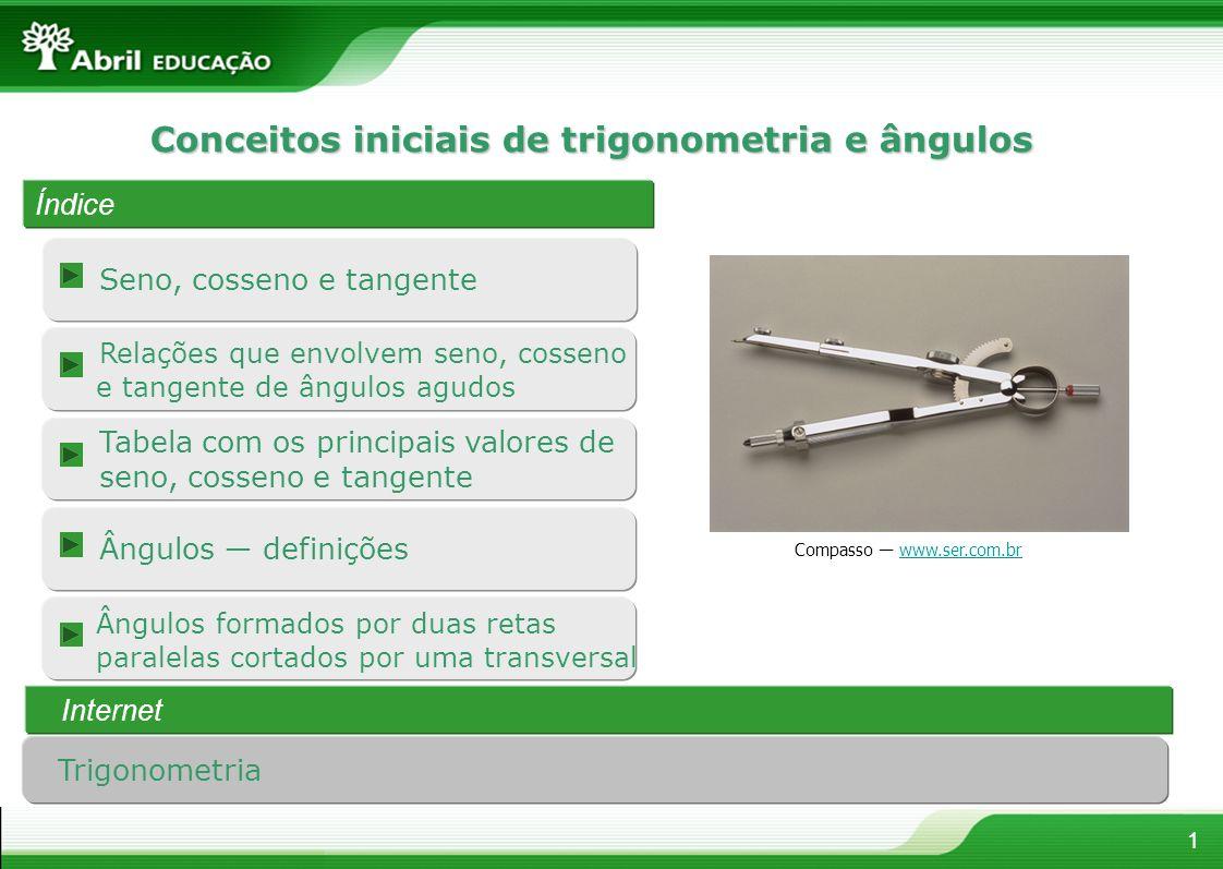 Conceitos iniciais de trigonometria e ângulos