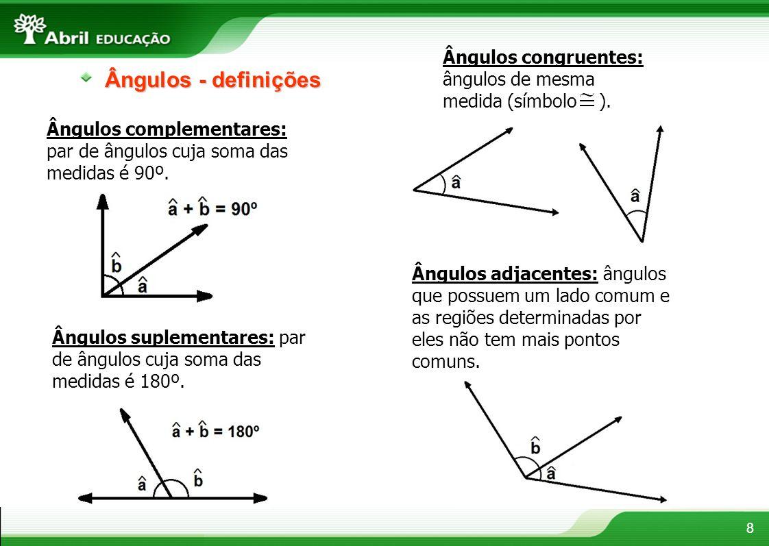 Ângulos congruentes: ângulos de mesma medida (símbolo ).