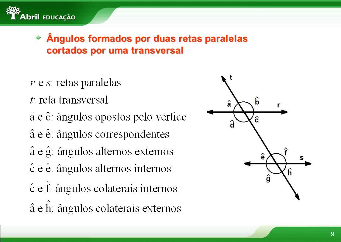 Ângulos formados por duas retas paralelas cortados por uma transversal