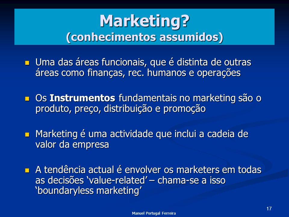 Marketing (conhecimentos assumidos)