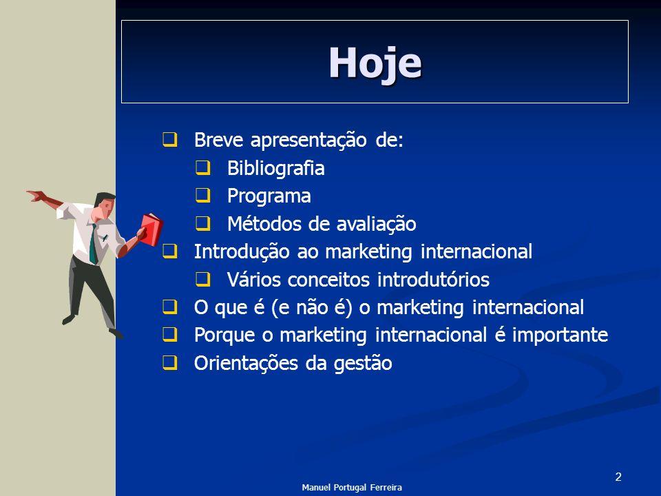 Hoje Breve apresentação de: Bibliografia Programa Métodos de avaliação
