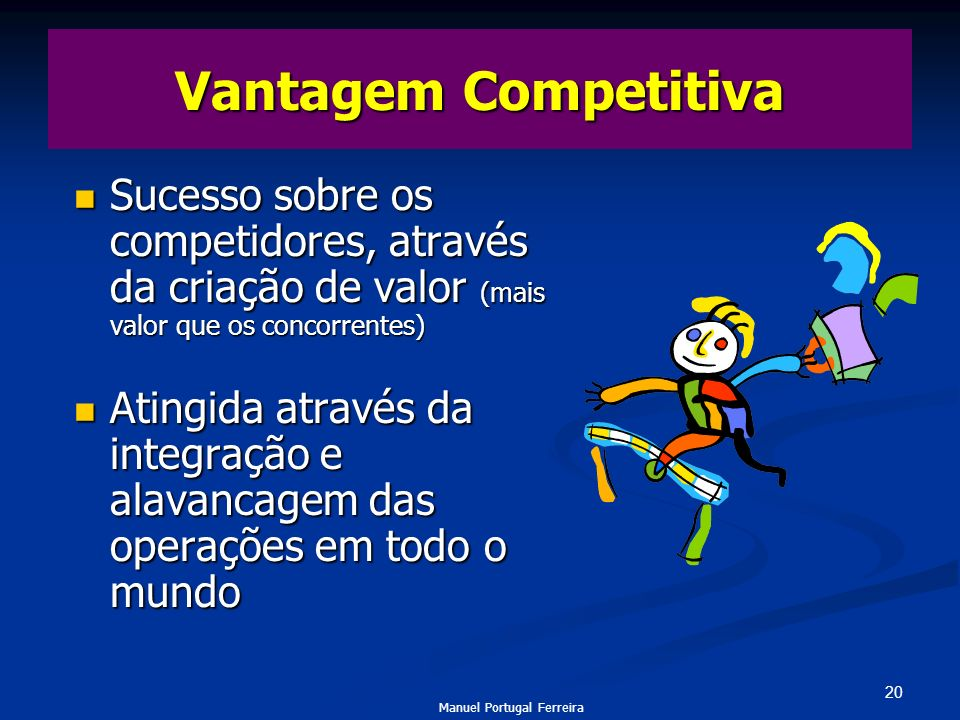 Vantagem CompetitivaSucesso sobre os competidores, através da criação de valor (mais valor que os concorrentes)