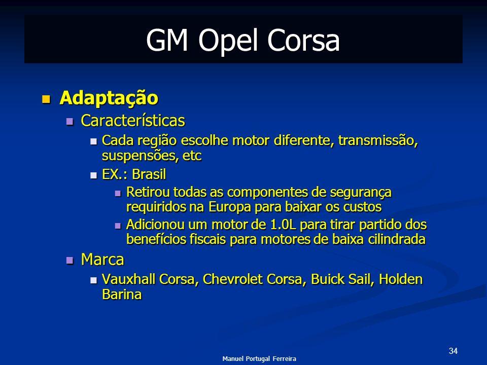 GM Opel Corsa Adaptação Características Marca
