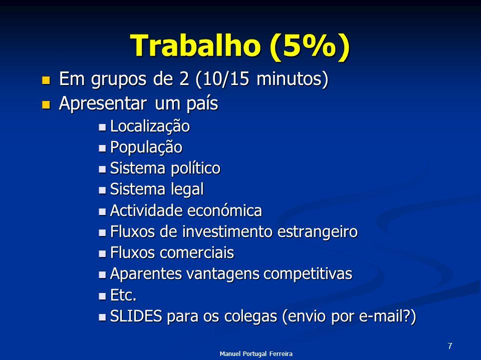 Trabalho (5%) Em grupos de 2 (10/15 minutos) Apresentar um país