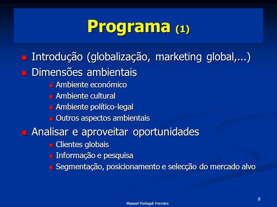 Programa (1) Introdução (globalização, marketing global,...)