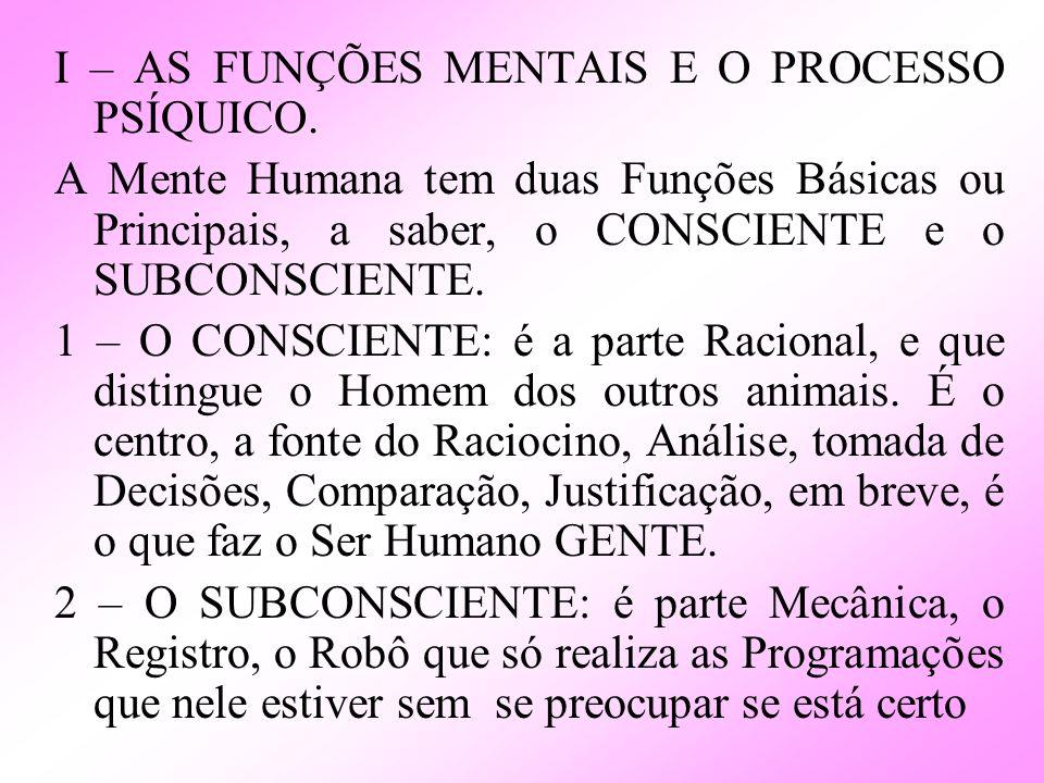 I – AS FUNÇÕES MENTAIS E O PROCESSO PSÍQUICO.